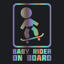 CK3347# Baby skateboard rider on board vinyl car sticker reflective waterproof cool waterproof removable decal car auto stickers cool wing style reflective car sticker yellow