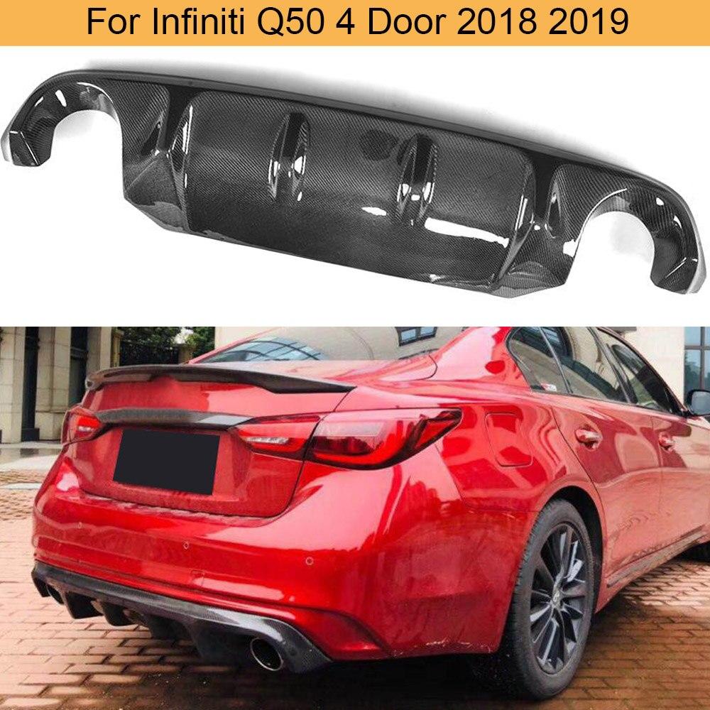 for q50 carbon fiber car rear bumper diffuser lip spoiler for infiniti q50 4 door 2018 2019 rear bumper diffuser apron splitter