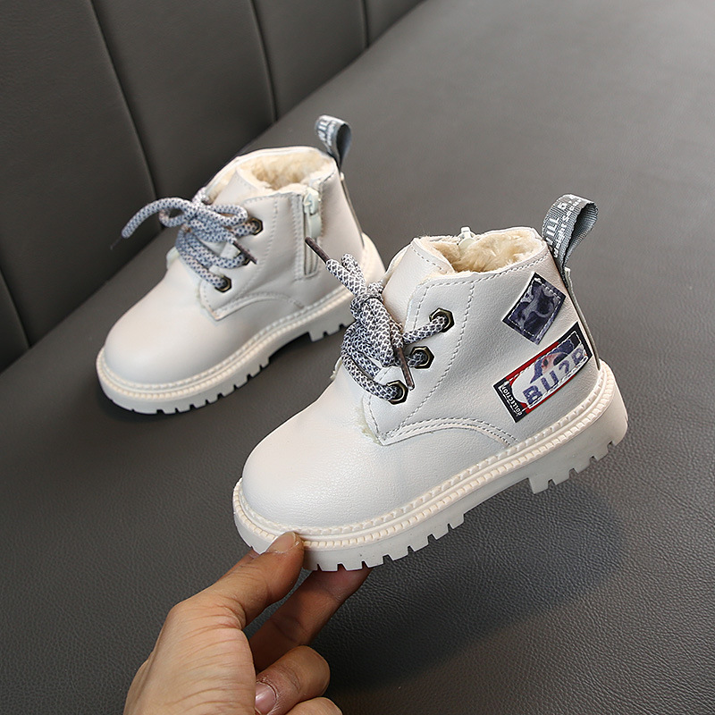 2019 Autumn/Winter Plush Children Boots Boys Girls Martin Shoes Fashion Brand Soft Leather Warm Kids Boots