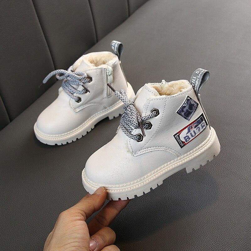 2019 Autumn/Winter Plush Children Boots Boys Girls Martin Shoes Fashion Brand Soft Leather Warm Kids Boots