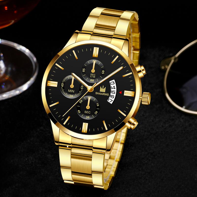 Fashion Business Watches Luxury Men'S Stainless Steel Male Quartz Watch Man Wristwatch Military Sport Clock Relogio Masculino