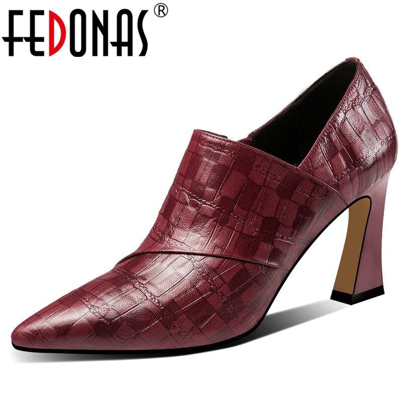FEDONAS printemps été qualité en cuir véritable femmes pompes classique fermeture éclair talons hauts parti bureau chaussures femme talons étranges-in Escarpins femme from Chaussures    1