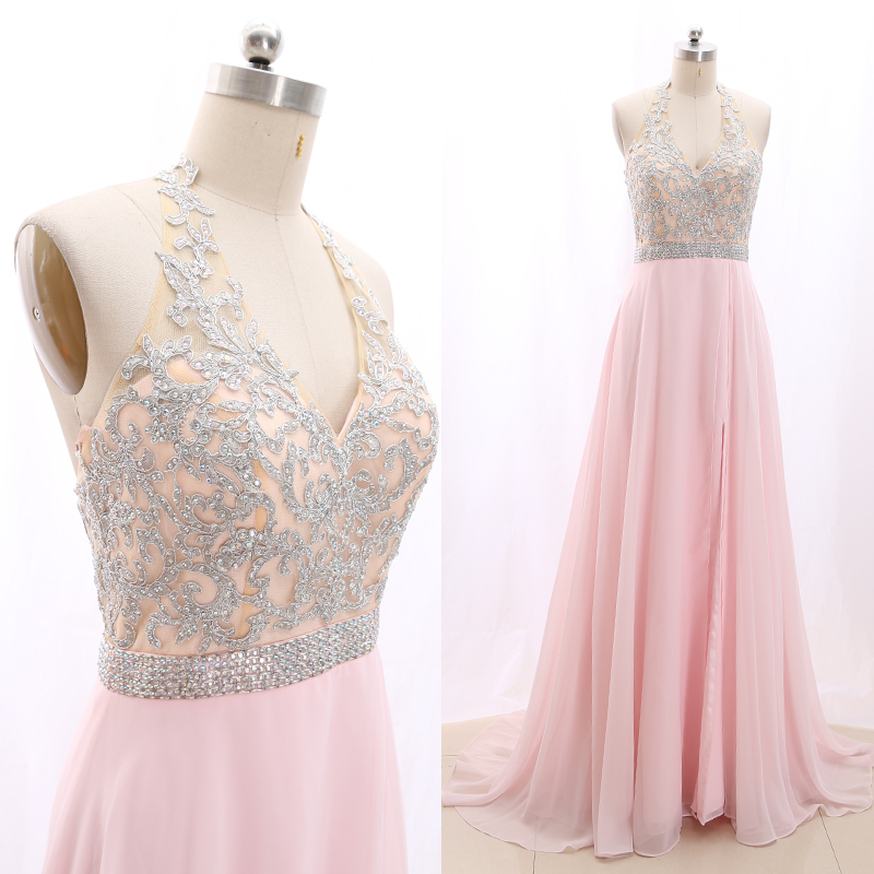 MACloth Pink Sweep Train V Neck Floor-Length Long Crystal Tulle Prom Dresses Dress S 268827 Clearance