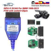 Para bmw inpa k dcan interface usb com interruptor k-linha obd obd2 cabo de diagnóstico inpa k + dcan k linha ftdi para bmw ferramenta automática