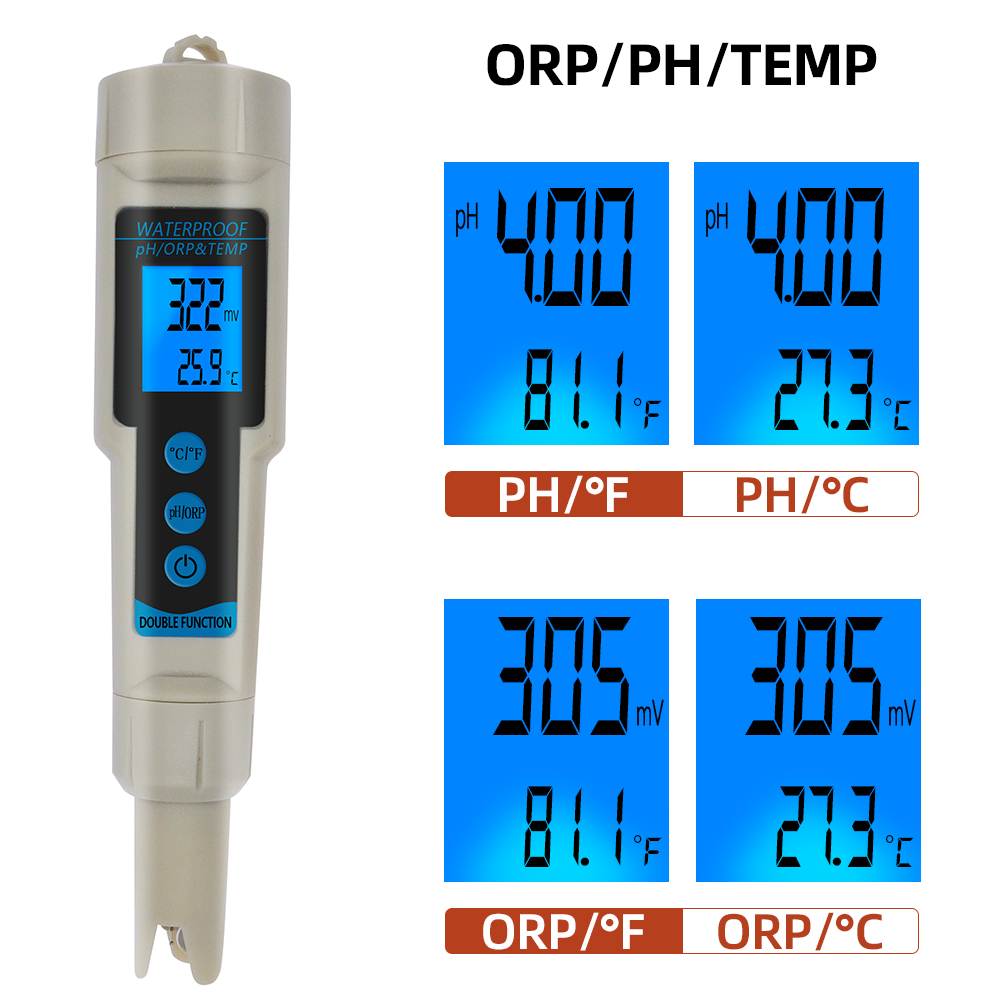 ORP-3569 ORP Meter 3 In 1 PH ORP TEMP Tester With Backlight Multi-parameter Digital Tri-Meter Water Quality Monitor 40% Off