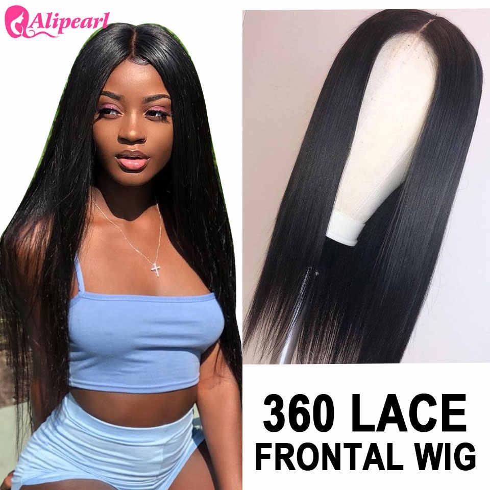 360 perucas de cabelo humano frontal do laço pré arrancadas brasileiro em linha reta perucas da parte dianteira do laço 150% 180% densidade remy alipearl perucas de cabelo
