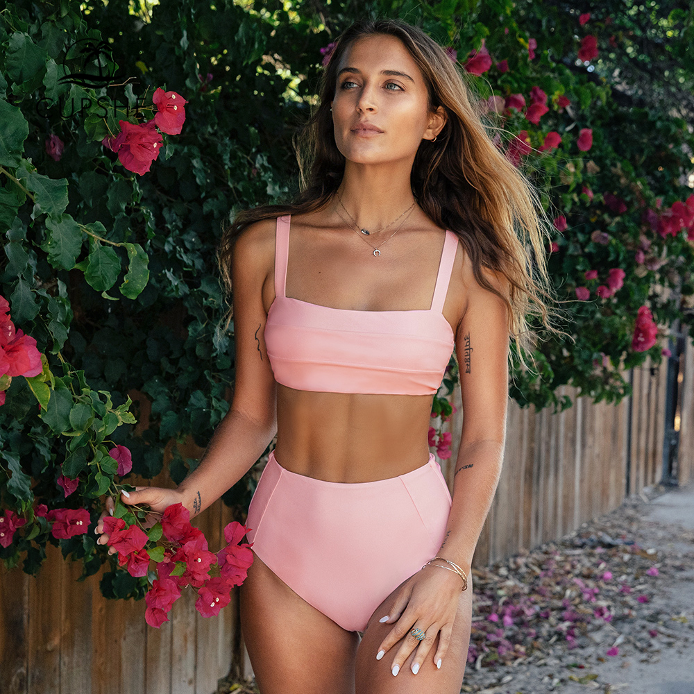 CUPSHE Sweet Solid Pink Tie Back High-Waisted Bandeau Bikini Sets Sexy Swimsuit Two Pieces Swimwear Women Beach Bathing Suits