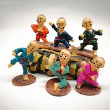 6Pcs/Set Cute super lovely Shaolin Kung Fu Glasses Monk Home Office Desktop Resin Decor different color and style monks doll футболка print bar shaolin monk