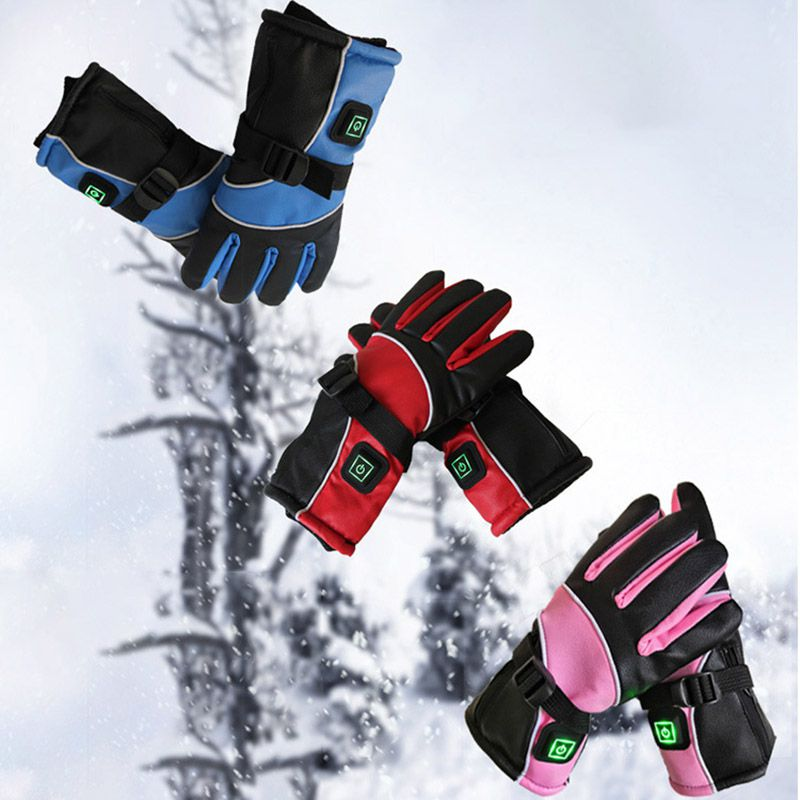 Practical USB Lithium Battery Switch Charging Electric Heated Gloves Durable Winter Outdoor Sports Ski Snowboard Thermal Gloves