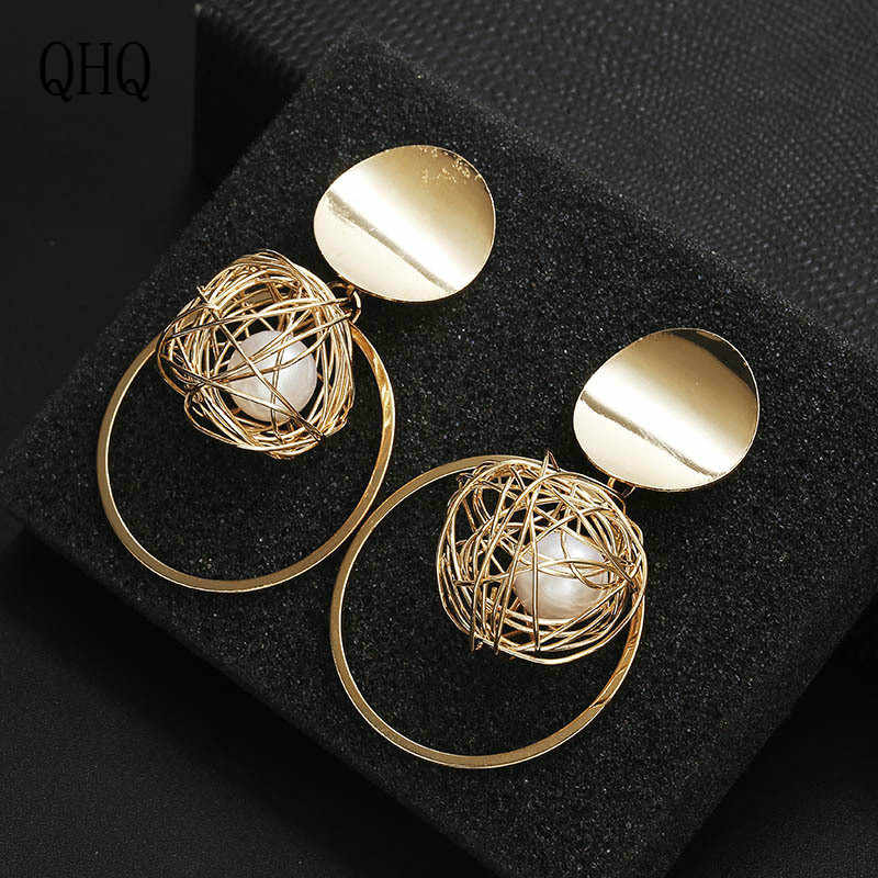 QHQ pendientes geométricos accesorios joyería zirconia diamante perla Piedra natural tachuelas regalos mujeres boho