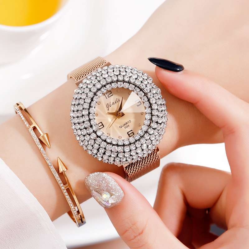 JBAlLl Women Watches Mesh Ladies Clock Magnet Buckle Diamond Geometric Surface Casual Dress Quartz Wristwatch Roman Numeral