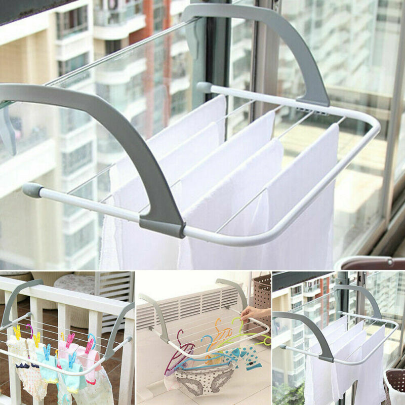 Outdoor Pole Storage Airer Hanging Drying Rack Clothes Laundry Multifunction Radiator Balcony Telescopic Folding Adjustable