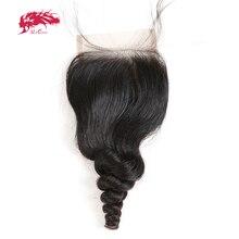 """עלי מלכת שיער ברזילאי Loose גל תחרה סגירת שיער לא מעובד 4*4 שוויצרי תחרה עם 130% צפיפות 10 """" 20"""" NaturalBlack צבע"""
