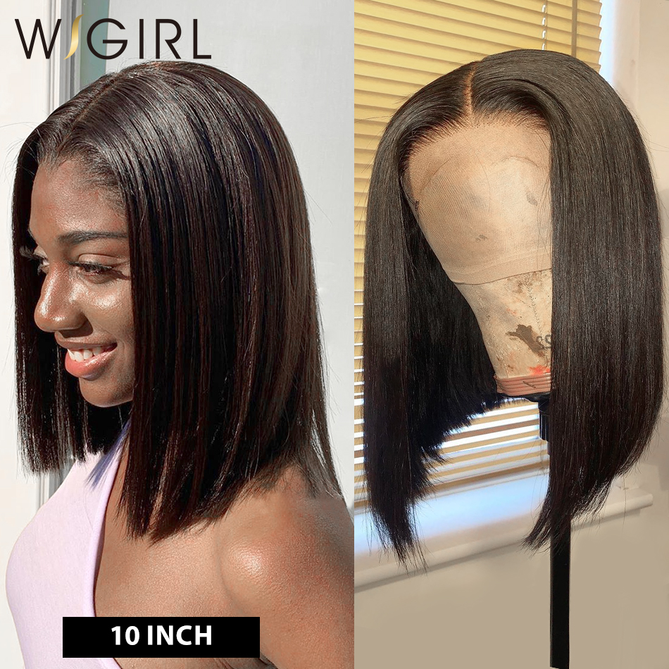 Wigirl 180 Density Bob Wig 13x6 Lace Front Human Hair Wigs Pre Plucked Short Straight Frontal Wigs For Black Women