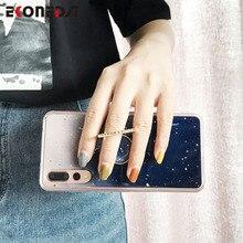 EKONEDA Ring Holder Case For Huawei P30 Lite Silicone Marble Glitter Cover P20 Pro Mate 20 Nova 3i 4