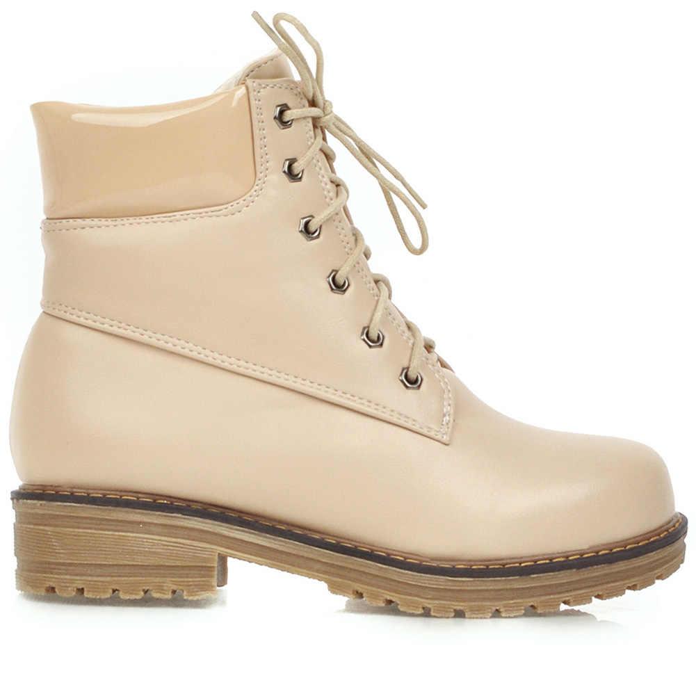BONJOMARISA ขนาดใหญ่ 33-43 สาว Elegant LACE-up ข้อเท้ารองเท้าผู้หญิง 2019 แฟชั่นรองเท้าสุภาพสตรี MED ส้นรองเท้าผู้หญิง