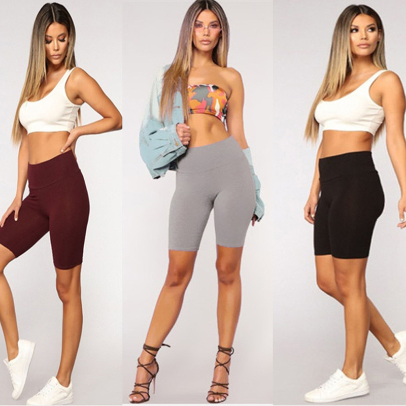 Women Slimming Leggings Solid Color Casual Pants Fashion Summer Ladies Five-point Short Leggings Wide Waistband Pants