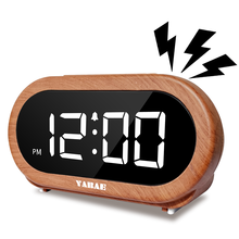 Titirobaled Digital Jam Alarm Snooze Volume Adjustable Jam Di Samping Tempat Tidur dengan 5 Opsional Alarm Suara USB Pengisian Port Kayu Warna(China)