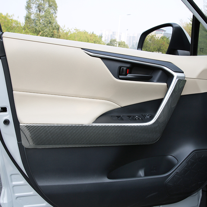 For Toyota <font><b>RAV4</b></font> 2019 <font><b>2020</b></font> Car Styling Interior Door Armrest Decorative Strips Cover Trim 4pcs ABS Plastic Auto Accessories image