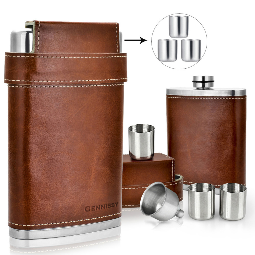 GENNISSY 8oz Portable Leather Covered Hip Flask+3 Stainless Steel Caps+1 Funnel For Whiskey Wine Pot Men Outdoor Travel Flagon