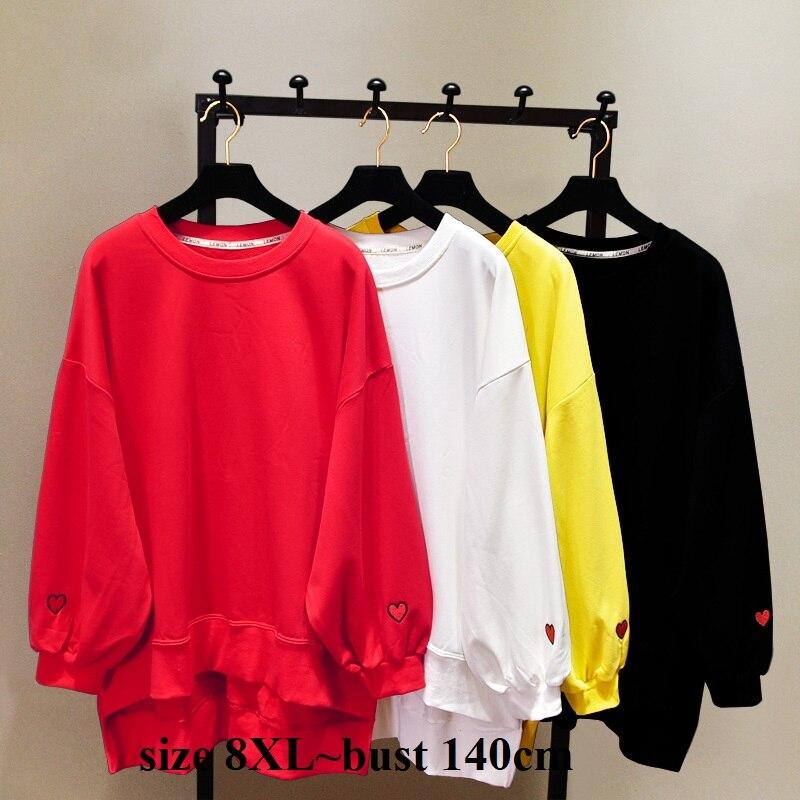 Большой размер 8XL, обхват груди 140 см, осенние толстовки с сердцем, пуловер, повседневный свободный свитер, уличная одежда, Женский однотонный хип хоп Топ|Толстовки и свитшоты|   | АлиЭкспресс