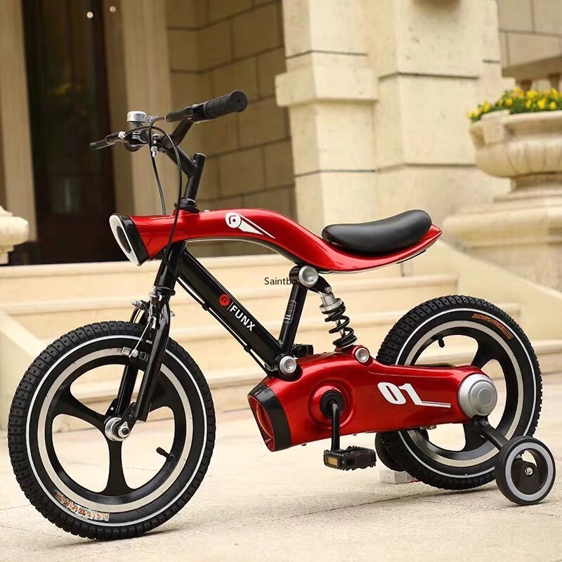 12/14/16inch  Aluminum Alloy Kids Bicycle With LED Night Light Thicken Tire Spring Fork Comfortable Kids Bike Gifts Furniture
