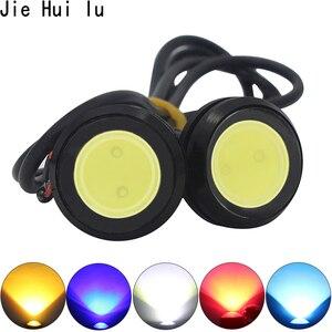 Image 1 - 23/18 ملليمتر سيارة النسر العين DRL Led النهار تشغيل أضواء COB 12 فولت احتياطية عكس وقوف السيارات إشارة مصابيح DRL سيارة التصميم