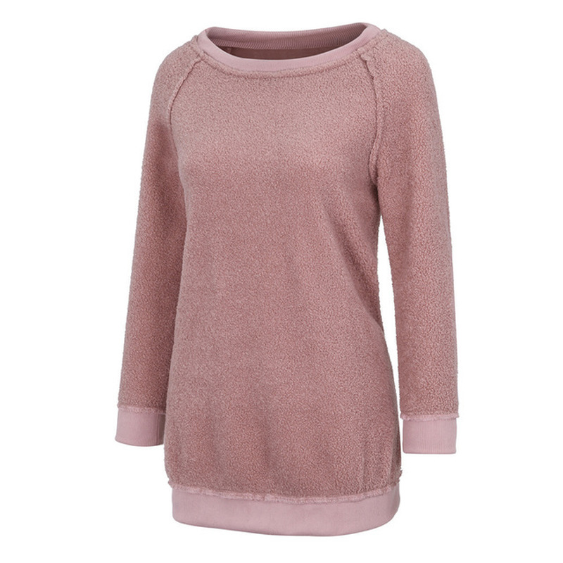 Plush Warmth Comfort Leisure Maternity Tee Loose Clothes Sweater Pregnancy Long Sleeve Clothing Top For Pregnant Women Clothes in Tees from Mother Kids