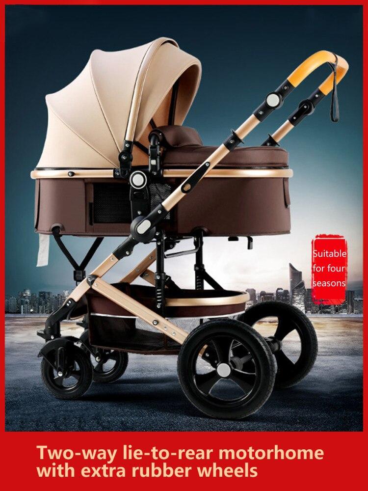 High landscape stroller sit, lie and fold two-way four-wheel shock-absorbing stroller