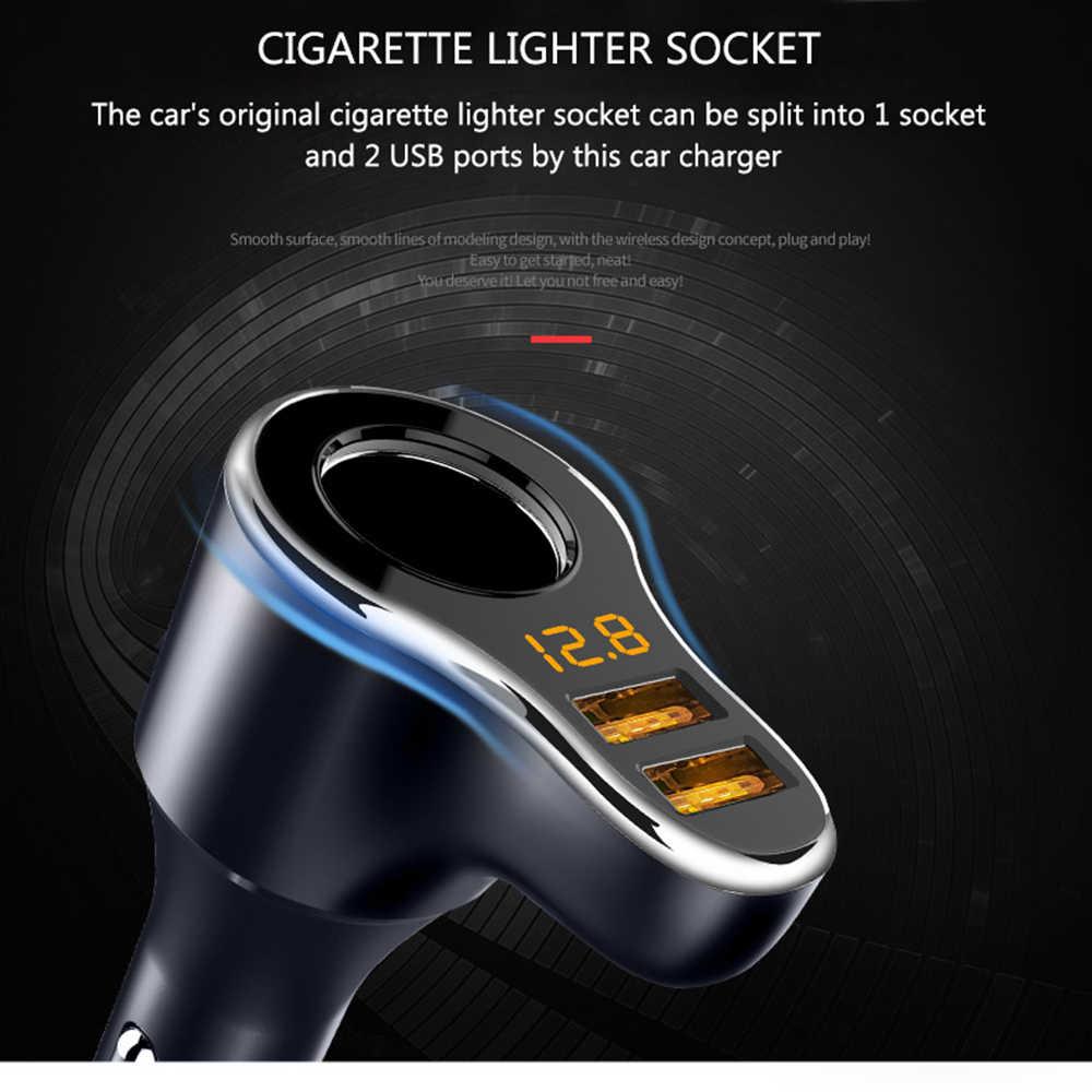 ولاعة السجائر المقبس شاحن سيارة 3.1A الجهد عرض 12-24V LED تشير ضوء شاحن USB مزدوج محول للهاتف MP3 DVR