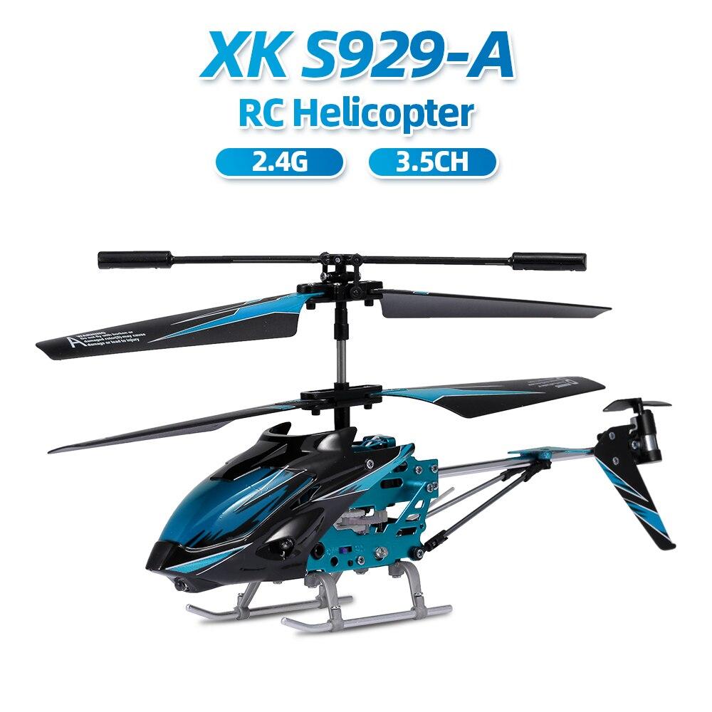 Wltoys xk S929-A rc helicóptero 2.4g 3.5ch com luz led rc helicóptero brinquedos internos para iniciantes crianças azul vermelho verde