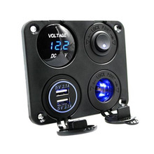 Black HX-1235 Waterproof Car Dual USB 3.1A Voltmeter Charger for iPhone iPad Voltmeter Charger DC 12V Four Functions Dual USB цена 2017