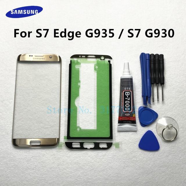 Front Outer Glas Linse Panel ersatz Für Samsung Galaxy S7 Rand G935 G935F S7 G930 G930F LCD touch screen + b 7000 kleber Werkzeug