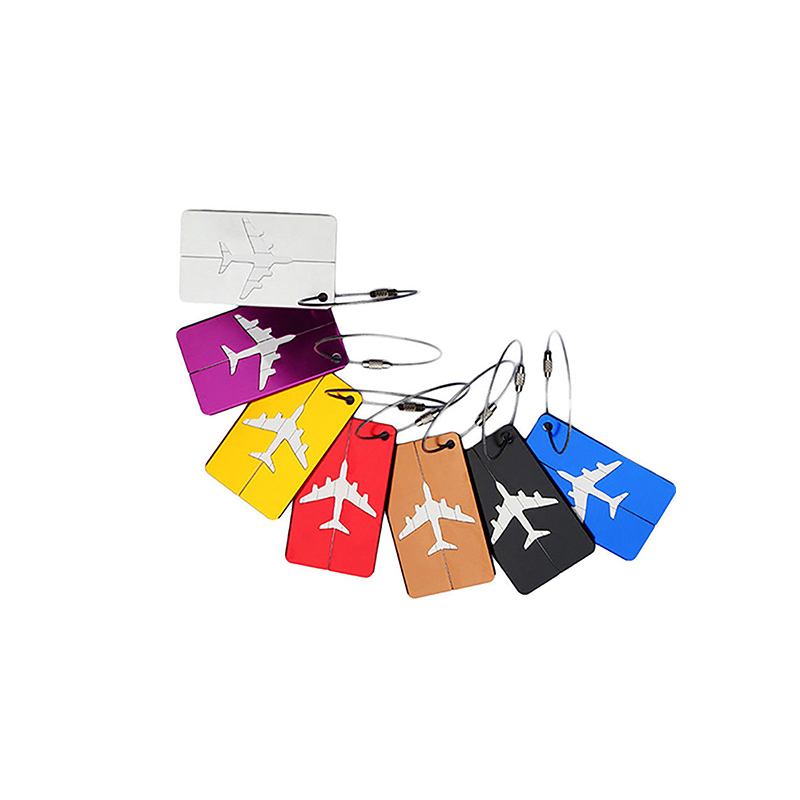 Luggage Tags Airplane Square Shape ID Suitcase Identity Address Name Labels Travel Accessories Luggage Board image