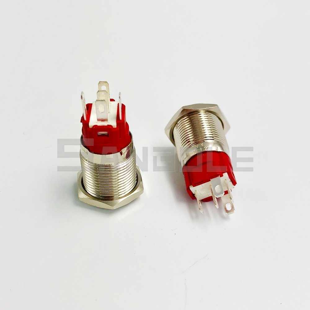 16mm Metal Push Button Switch Momentary Reset / Latching Ring LED Lamp Power Mark Symbol Car Auto Engine PC Power Start