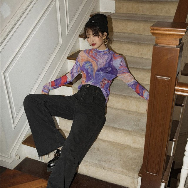 CHEERART Fluid Print Turtle Neck Mesh Top Women Long Sleeve T Shirt Purple Tee Shirt Femme 2020 Spring New Arrival 5