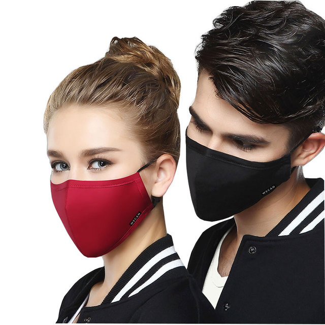 Wecan Cotton Reusable Mouth Face Mask Anti PM2.5 Dust Mask Mascaras With 10pcs Activated Carbon Filter Korean Black Fabric Masks 5