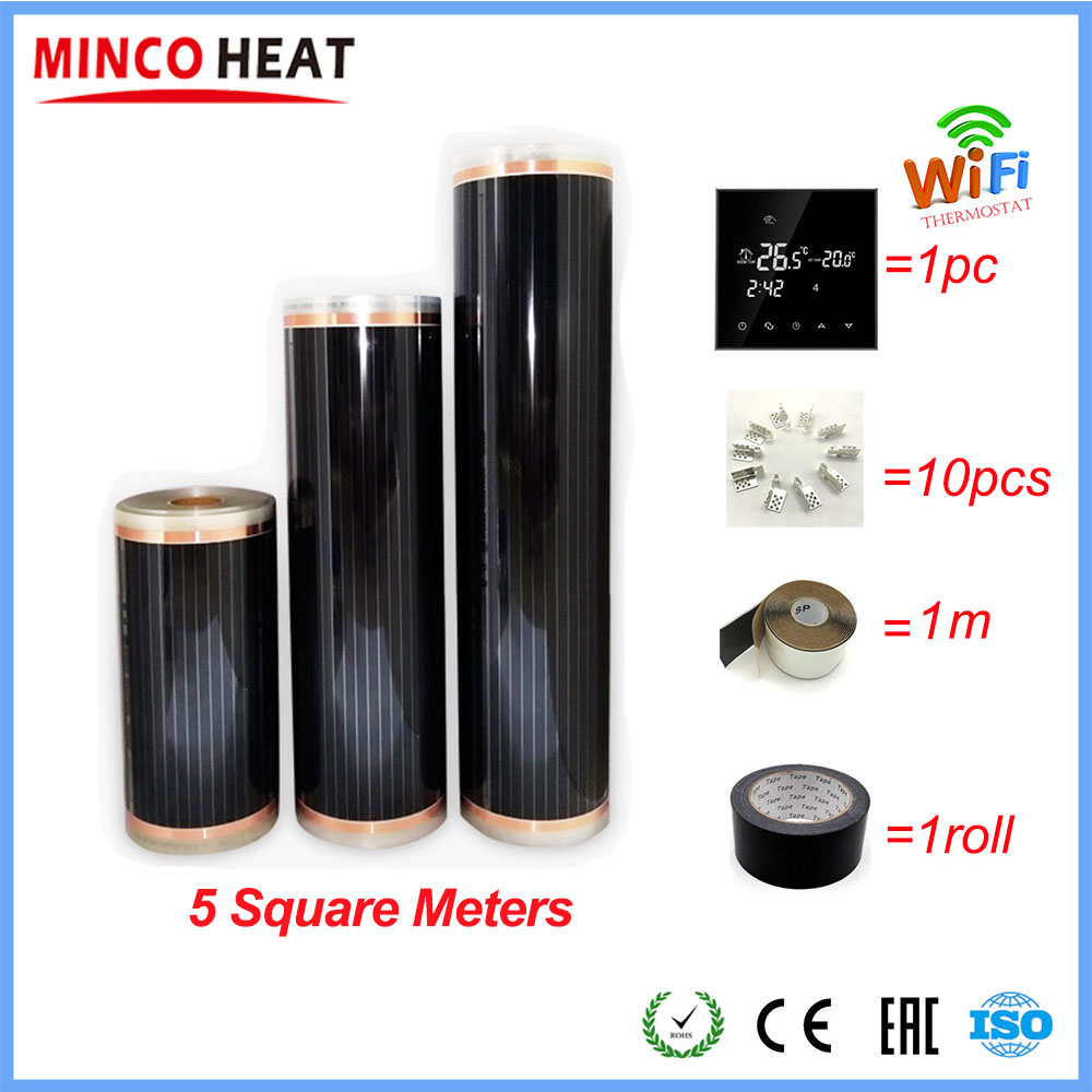 Hot 5m2 Far Infrared Floor And Wall Heating Film With Accessories Home Warming Mat AC220V 110W/M WiFi Optional