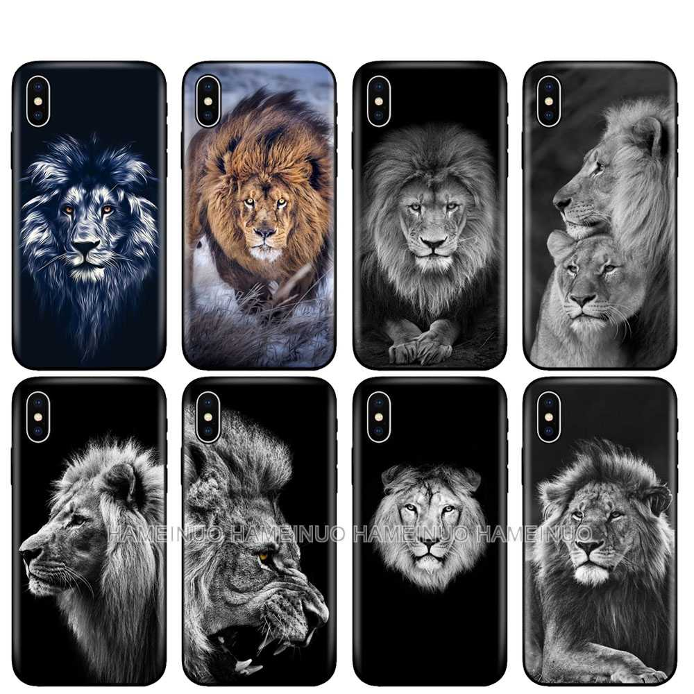 Black tpu case for iphone 5 5s se 6 6s 7 8 plus x 10 case silicon cover for iphone XR XS 11 pro MAX case big lion animal