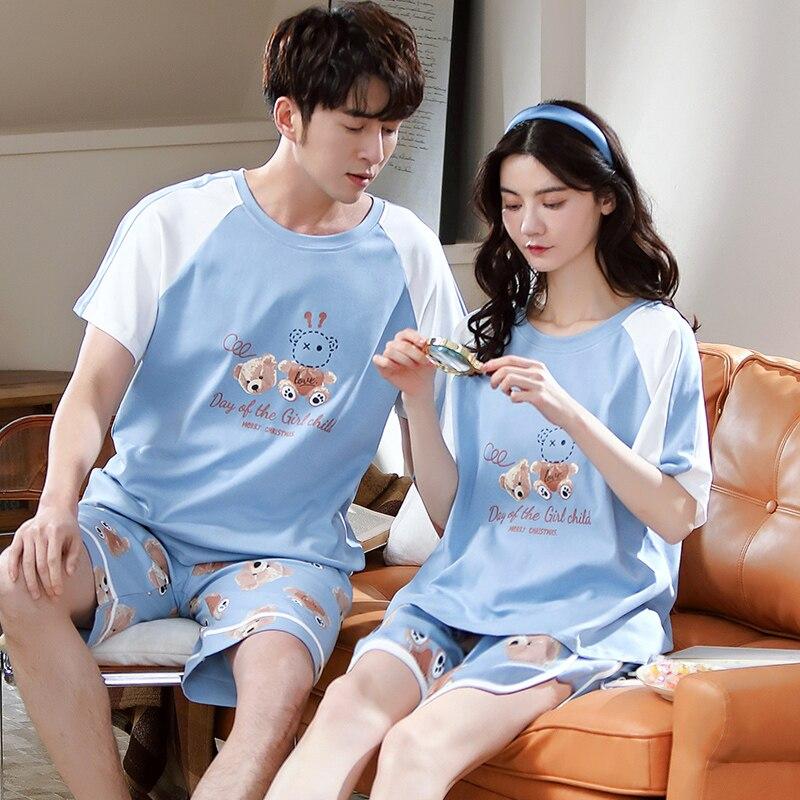 Cotto casal pijamas primavera verão manga curta feminina pijamas moda céu azul retalhos homewear dos desenhos animados kawaii pijamas