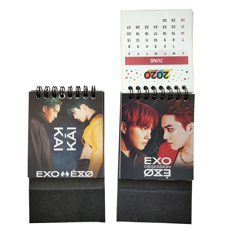 2020 Cartoon Mini KPOP EXO Desktop Paper Calendar Dual Daily Scheduler Table Planner Yearly Agenda Organizer