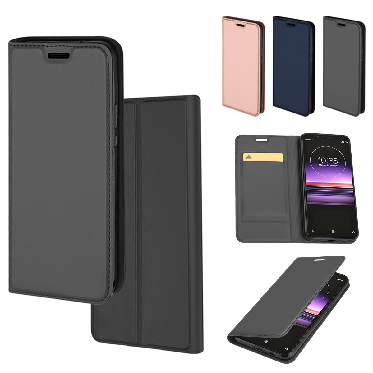 6.1 Kickstand and Card Slots for Sony Xperia 5 II Phone Case Case Collection Premium Leather Folio Cover for Sony Xperia 5 II Case Magnetic Closure Full Protection Book Design Wallet Flip with