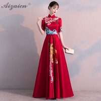 Phoenix Embroidery Long Cheongsam Red Modern Femme Slim Evening Dresses Qi Pao Women Traditional Chinese Wedding Dress Qipao