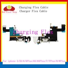 10 unids/lote reemplazo de carga Flex Cable para iPhone 7 5 5C 5S 6 6S plus 8 X USB parte flexible del conector del enchufe del puerto del cargador