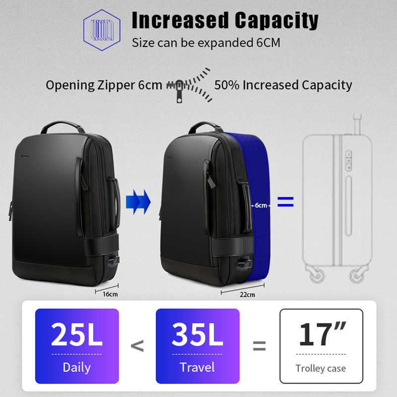 BOPAI Marca Ingrandire Zaino USB Carica Esterna 15.6 Pollici Del Computer Portatile Zaino Spalle Degli Uomini Anti-furto Impermeabile Zaino Da Viaggio