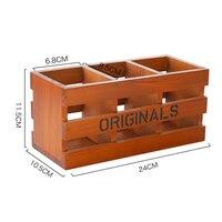 Retro Wooden Desktop Stationery Storage Box Three-grid Pen Holder Multi-function Debris Container Home Decor Gifts