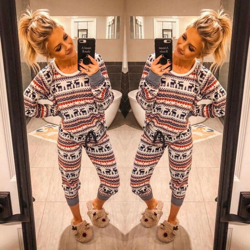 New Fashion Women Christmas Pajamas Sets Cartoon Deer Printed Striped Reindeer Print Pyjamas Xmas Nightwear Pajamas Sets