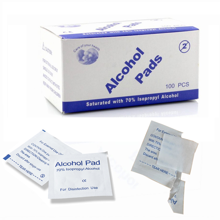 100pcs/lot Alcohol Prep Swab Pad Care Jewelry Mobile Phone Clean Wet Wipe For Antiseptic Skin Cleaning