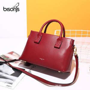 Image 5 - BISONJS роскошные сумки из натуральной кожи, женские сумки, дизайнерская женская сумка тоут, повседневная сумка с верхней ручкой, женская сумка на плечо B1870