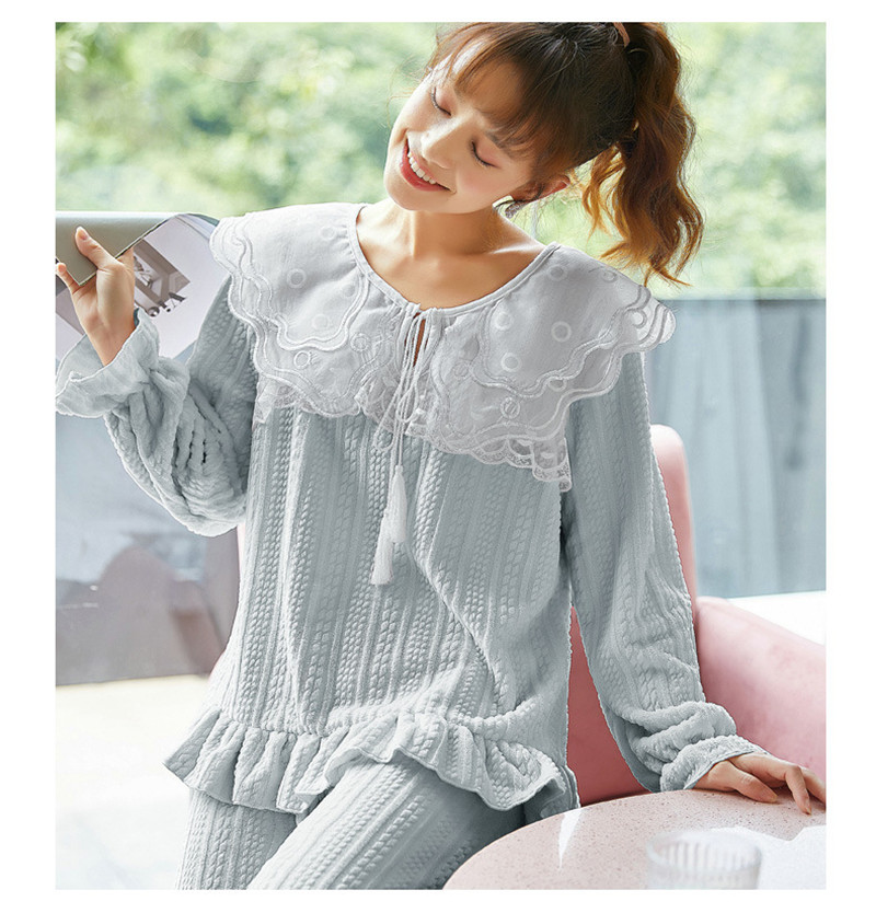 JULY'S SONG Flannel Women Pajama Sets Sleepwear Air Cotton Winter Pajamas Thick Warm Lace Long Sleeves Full Trousers Homewear 38